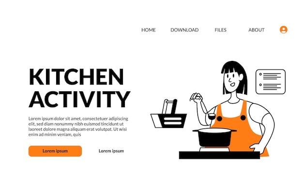 Contorno plano ilustração moderna cozinha atividade mulher dona de casa cozinhando boa comida com uma cara feliz