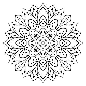 Contorno preto e branco de mandala circular floral para colorir pages.yoga.therapy.meditation