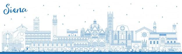 Contorno siena tuscany a itália city skyline com edifícios azuis. ilustração vetorial. viagem de negócios e conceito com arquitetura histórica. paisagem urbana de siena com pontos turísticos.