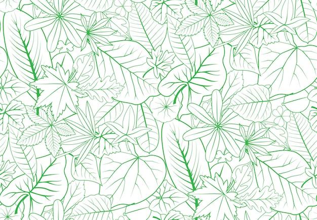 Contorno verde deixa padrão sem costura para decoração de natureza