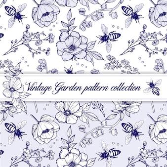 Contorno vintage elegante padrão de ervas com flores e abelhas