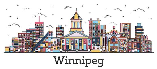Contorno winnipeg canadá city skyline com cor edifícios isolados no branco. ilustração vetorial. vista da cidade de winnipeg com pontos turísticos.