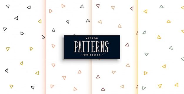 Contornos triângulo padrão branco conjunto de padrões de quatro