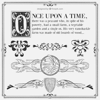 Contos de fadas caligráficos com ornamentos