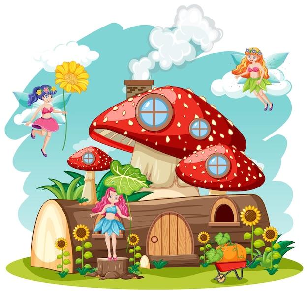 Contos de fadas com estilo cartoon de cogumelo e casa de madeira isolada no fundo branco