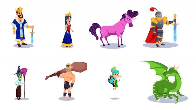 Contos de fadas dos desenhos animados personagens de fantasia.