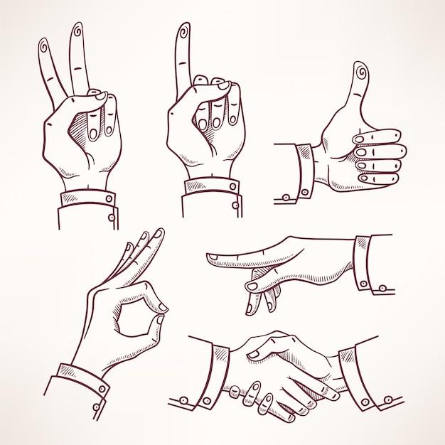 Contour sketch mãos