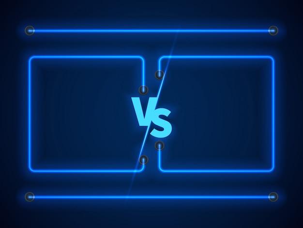 Contra a tela com quadros de néon azuis e vs letras. estoque