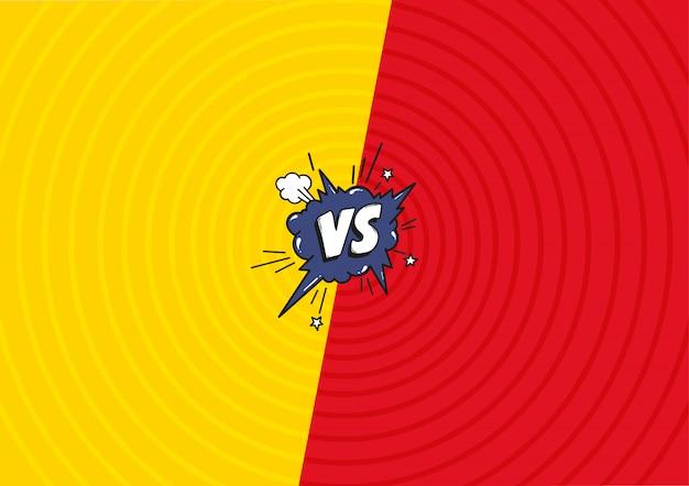 Contra cartas lutam contra o fundo. fundo em quadrinhos decorativo com bomba de bolha do discurso explosivo no estilo pop art.