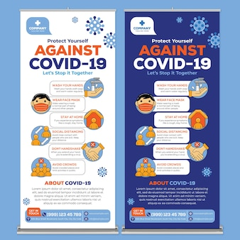 Contra covid19 roll up banner print template em flat design style