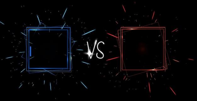 Contra o conceito de tela. anúncio futurista de néon de uma ilustração vetorial para dois jogadores