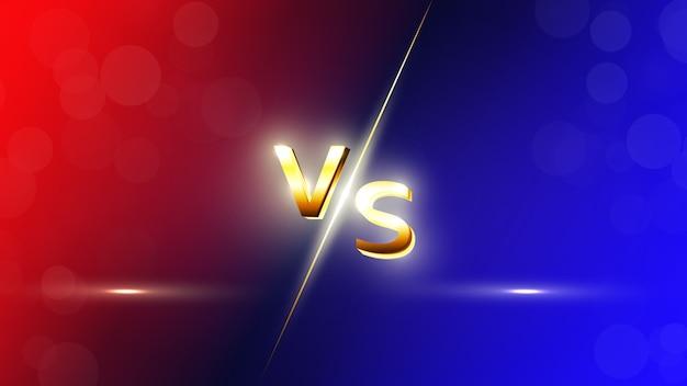 Contra o fundo vermelho e azul vs letras para esportes, competição de luta, batalha, partida e jogos.