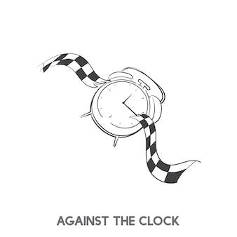 Contra, relógio, idiom, vetorial