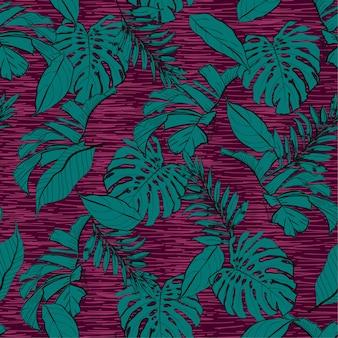 Contraste de cor de folhas tropicais sem costura padrão