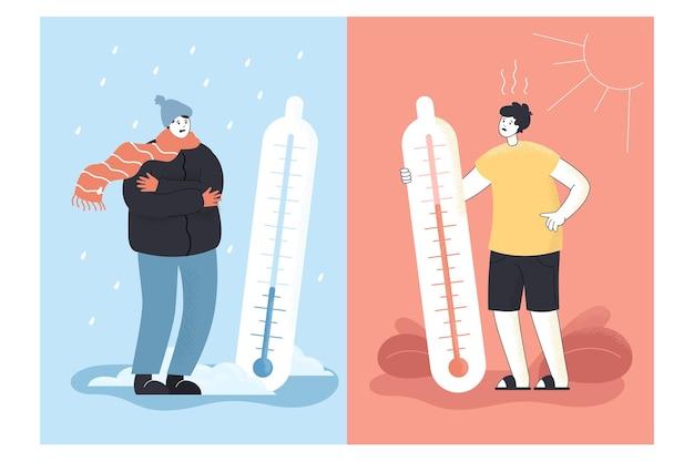 Contraste de inverno e verão, clima frio e quente