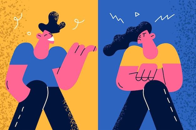 Contraste emoções e sentimentos positivos e negativos