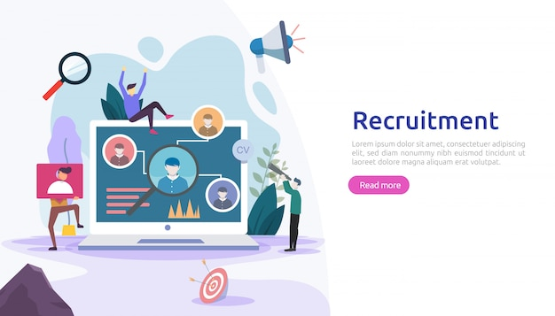 Contratação de emprego e conceito de recrutamento online com caráter de pessoas minúsculas. entrevista da agência. selecione um processo de currículo. modelo para página de destino da web