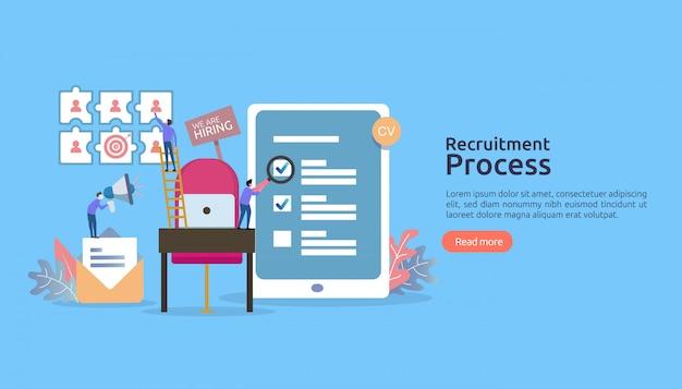 Contratação de emprego, recrutamento online. personagem de pessoas de cadeira vazia. entrevista da agência. selecione retomar processo.