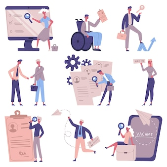 Contratação de funcionários. conjunto de ilustração vetorial de recrutamento de pessoal, candidatos a vagas, recursos humanos, empregadores e gerentes de rh. serviço de emprego