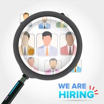 Contratação de recrutamento de negócios. seleção de empresário