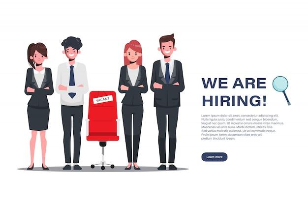 Contratação e conceito de recrutamento on-line com caráter de pessoas de negócios.