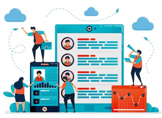 Contratação e recrutamento digital usando o celular para escolher a ilustração do conceito de funcionários