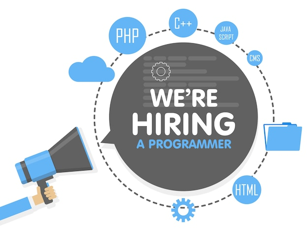 Contratamos um programador. conceito de megafone. modelo de banner, anúncios, pesquisa de funcionários, contratação de desenvolvedor ou codificador para o trabalho