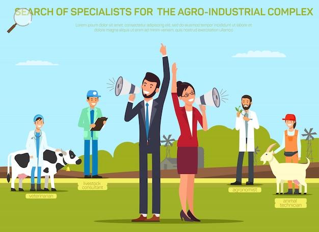 Contratando o modelo de banner de vetor plana de trabalhador de agricultura