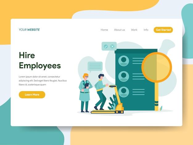 Contratar funcionários para a página do site