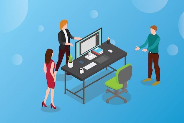 Contratar ou contratar designer conceito com mesa vazia e cadeira