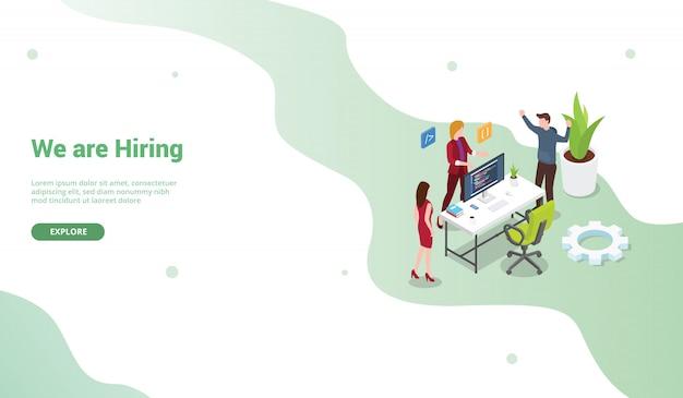 Contrate cartaz de programador ou modelo de banner para a página inicial de design do site ou desembarque