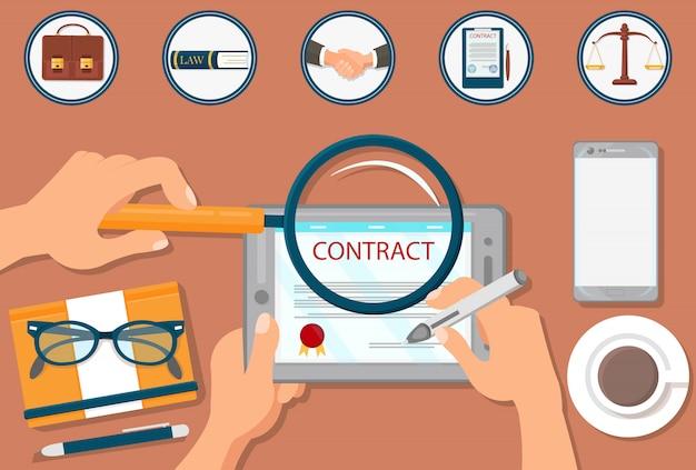 Contrato de assinatura de vetor plana para suporte jurídico.