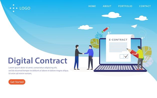 Contrato digital, modelo de site, em camadas, fácil de editar e personalizar, conceito de ilustração