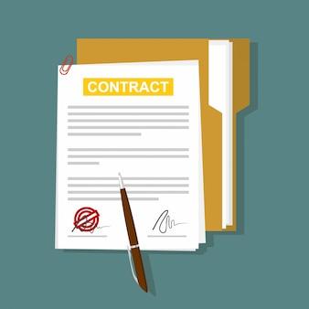 Contrato em estilo simples, conceito do negócio, ilustração vetorial