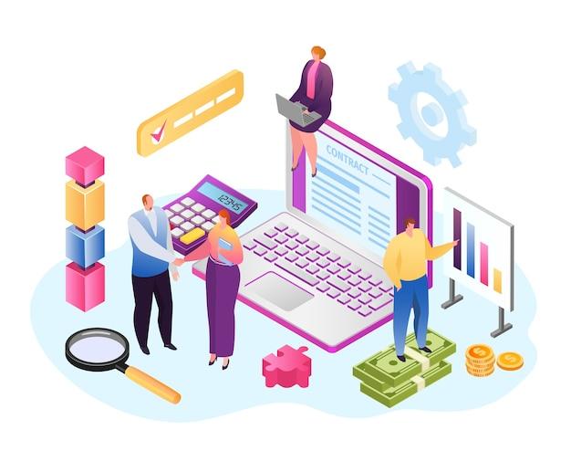 Contrato em laptop, empresários isométricos