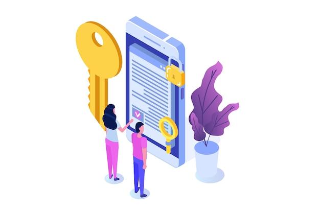 Contrato inteligente, conceito isométrico de assinatura digital. tecnologia blockchain.