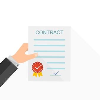 Contrato na mão. ilustração vetorial