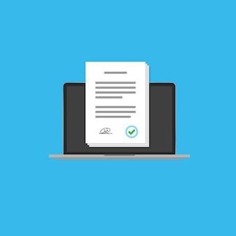 Contrato online no ícone do computador portátil