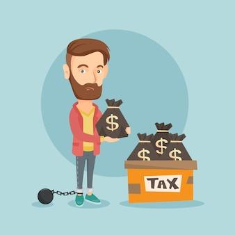 Contribuinte acorrentado com sacos cheios de impostos.
