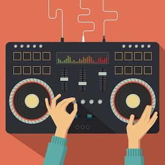 Controlador de dj plano com ilustração mãos vector