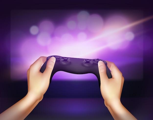 Controlador de gamepad realista nas mãos