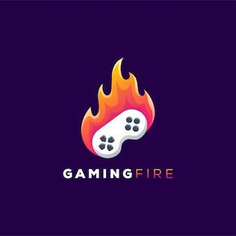 Controlador de jogo no logotipo de fogo