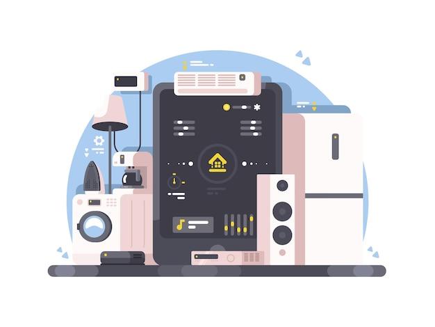 Controle de casa inteligente usando tablet. máquina de lavar roupa, ar condicionado e sistema de áudio.