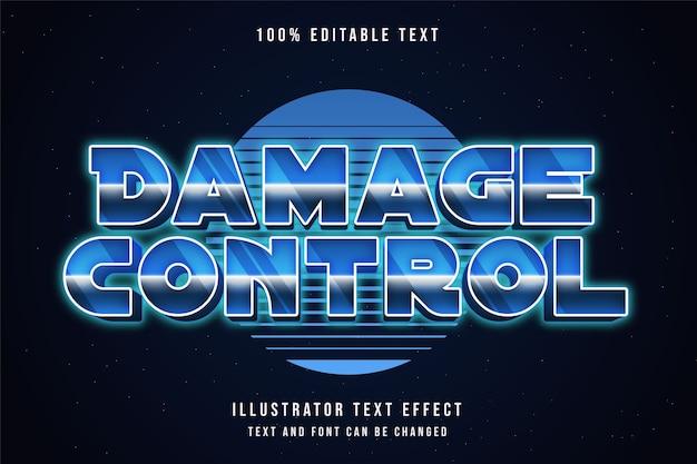 Controle de danos, efeito de texto editável em 3d gradação azul estilo de texto neon dos anos 80