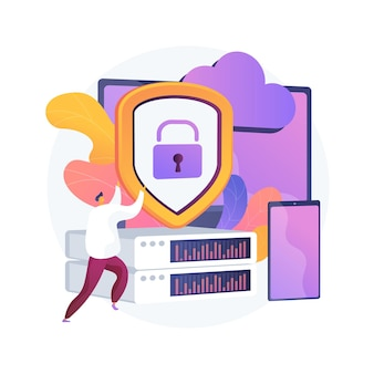 Controle de data center. software de computador, tecnologia de hospedagem. acesso bloqueado. hardware de programação. informações pessoais, banco de dados seguro, armazenamento seguro. ilustração vetorial de metáfora de conceito isolado