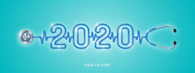 Controle de estetoscópio de cuidados de saúde e conceito médico para o ano 2020