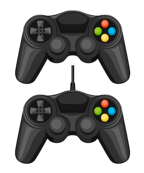 Controle de jogo com e sem fio. controlador de videogame preto. gamepad para jogos de pc ou console. ilustração em fundo branco.