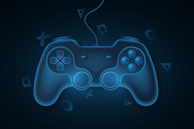 Controle de jogo moderno com fio para videogames. joystick azul, 3d para consola de jogos. fundo de símbolos geométricos dinâmicos. conceito de jogos de computador para seu design de modelo. ilustração vetorial