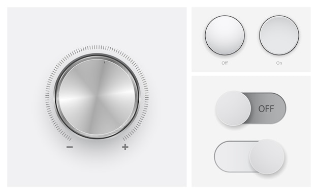 Controle de nível de volume no conjunto de ícones de botões desligados