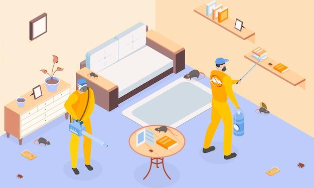 Controle de pragas com desinfecção e símbolos de inseticida isométricos